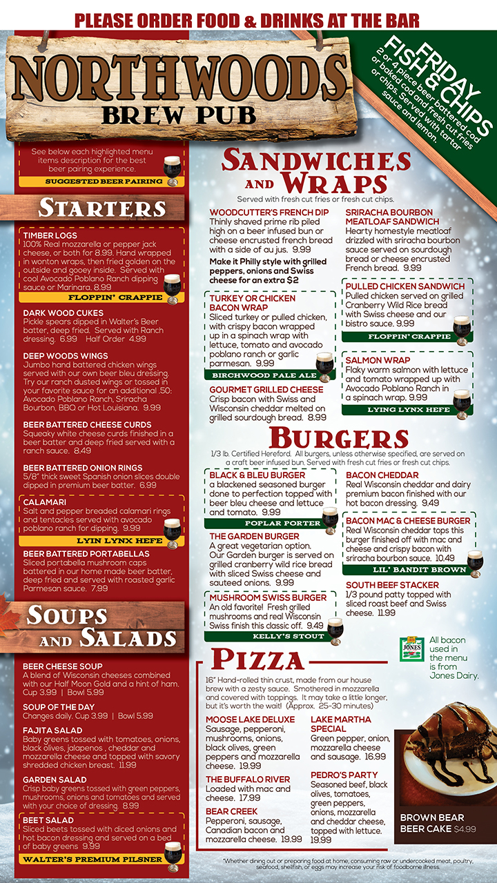 Northwoods Brewpub - Menu